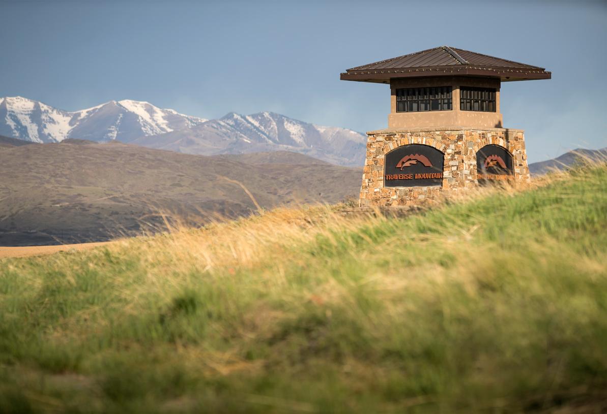 Traverse Mountain entrance monument as you enter community
