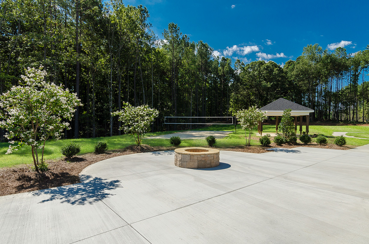 Fire pit and sand volleyball court