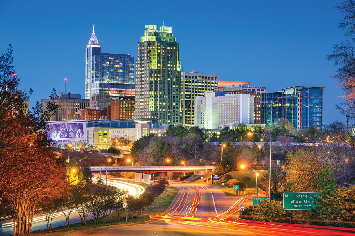 Bustling downtown Raleigh can be reached in less than 30 minutes
