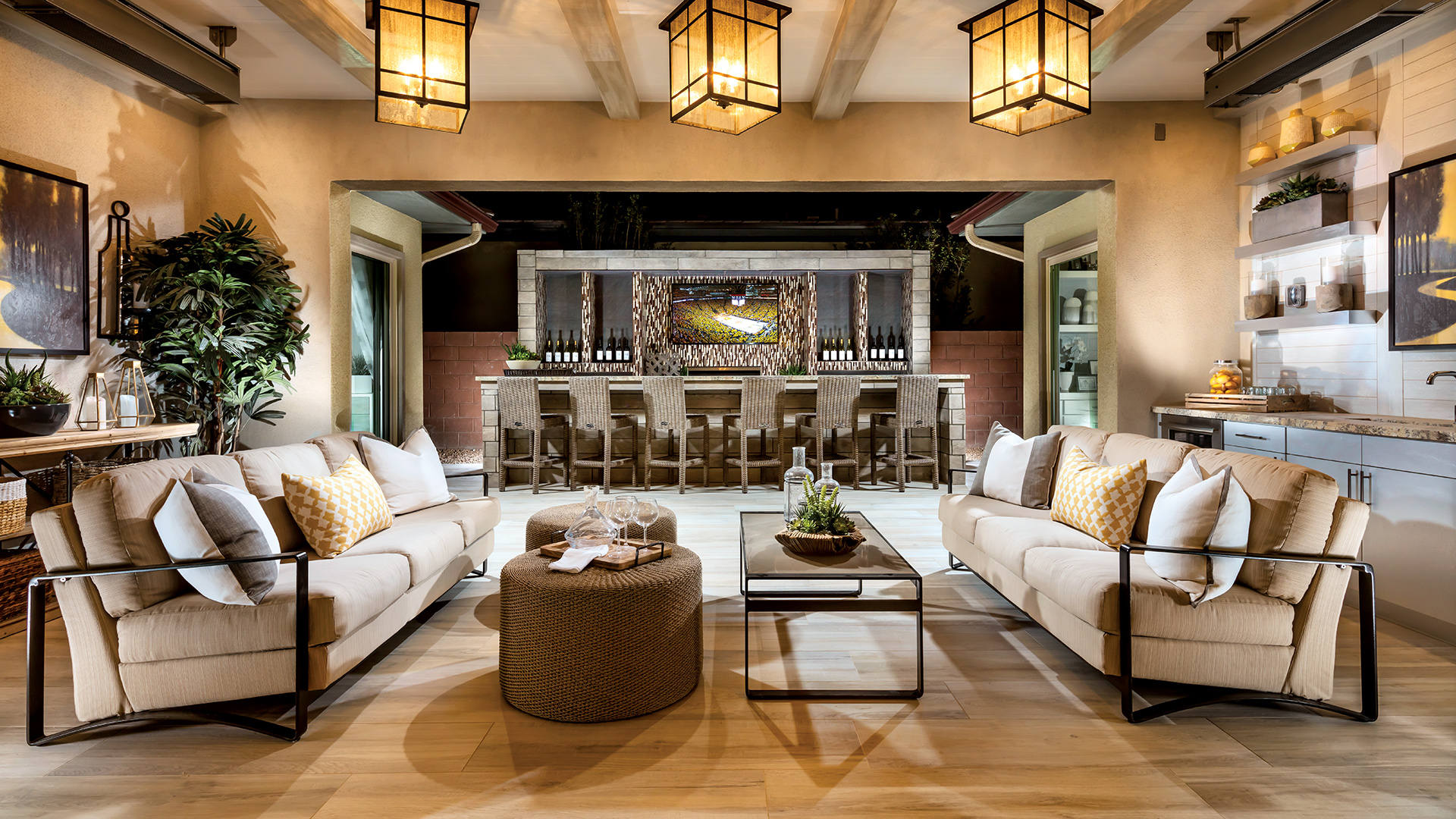 Indoor/outdoor layouts feel inviting and relaxing