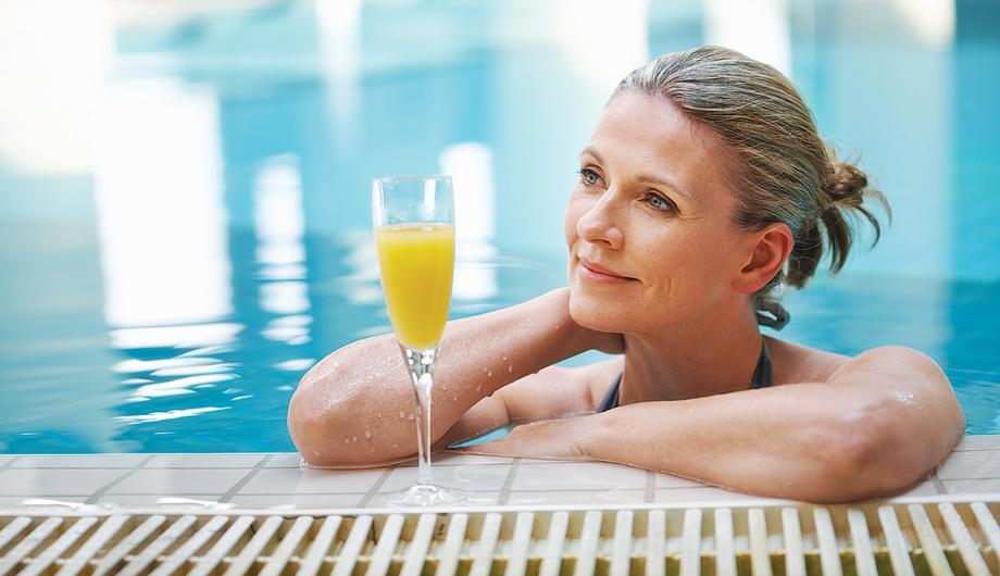 Relax by the outdoor swimming pool or swim laps indoors