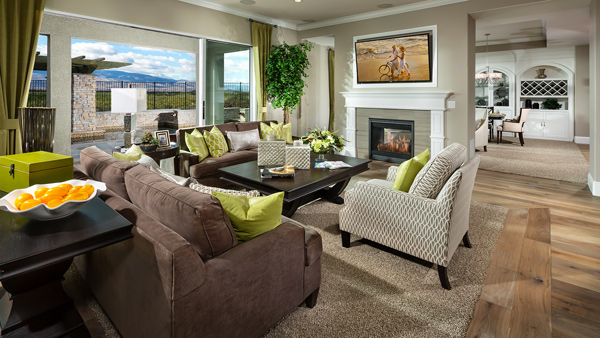 The expansive great room is open to the well-designed gourmet kitchen