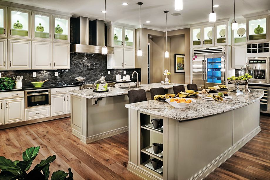 Spacious gourmet kitchens have oversized walk-in pantries