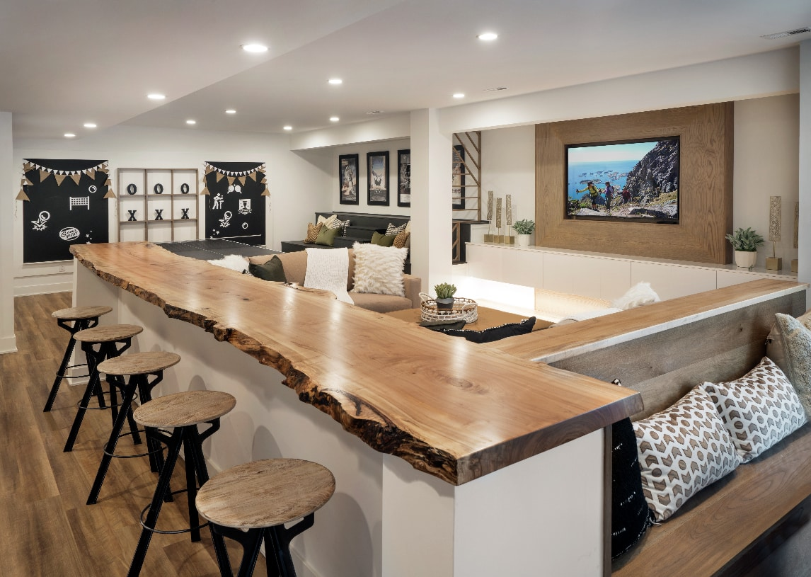 Finished walk-out basement adds to entertaining space