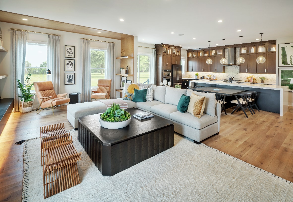 Spacious kitchen opens to casual dining area and great room