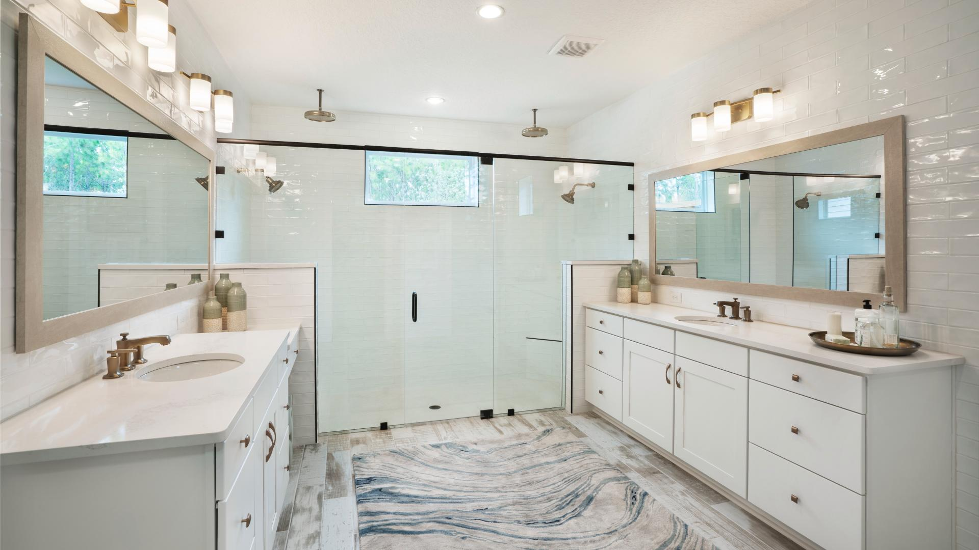 Expansive primary bathrooms with luxurious showers