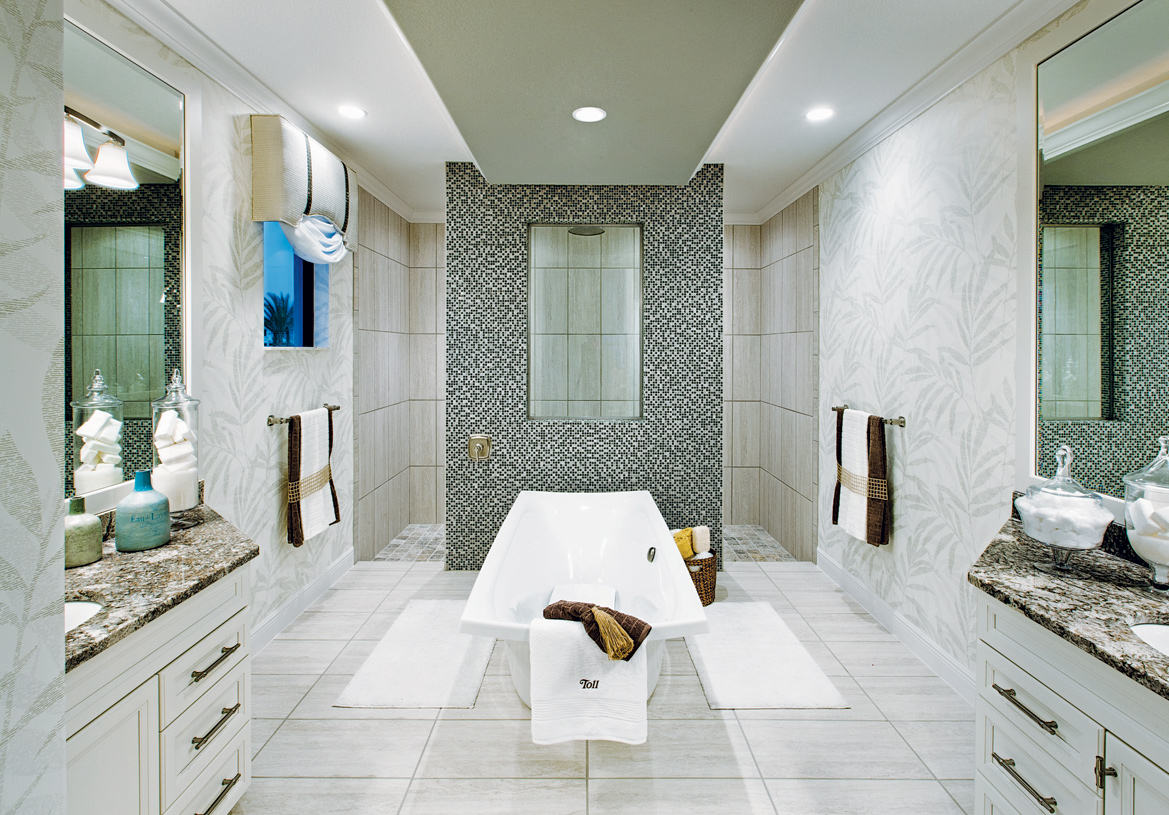 Spa-inspired primary baths