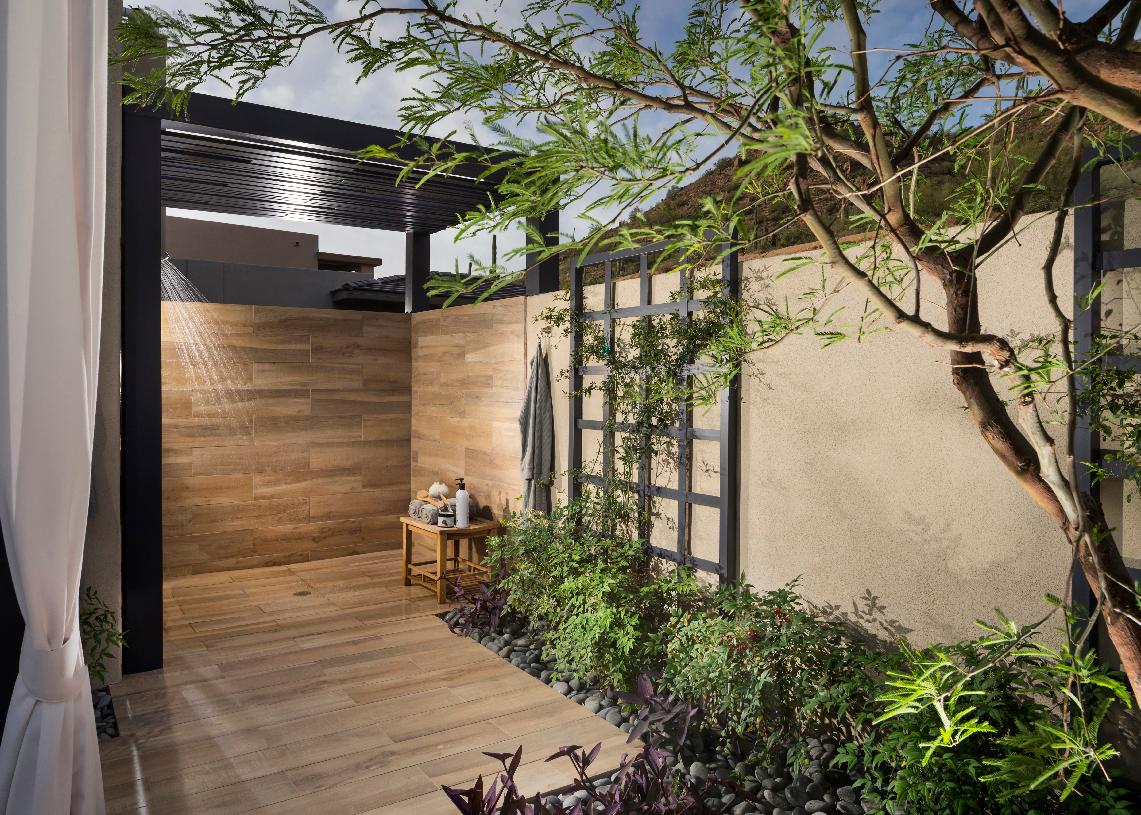Private patio with outdoor shower