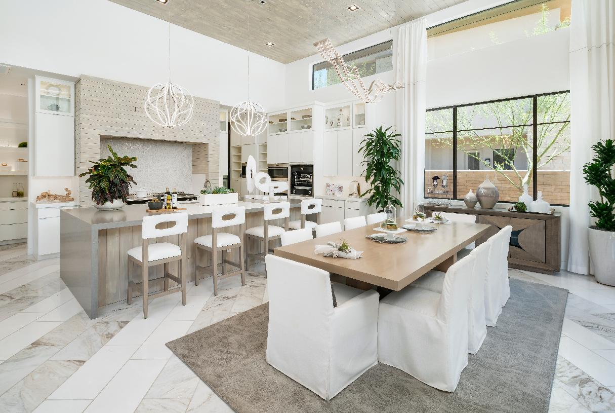 Open kitchen and dining room provide the perfect space for entertaining