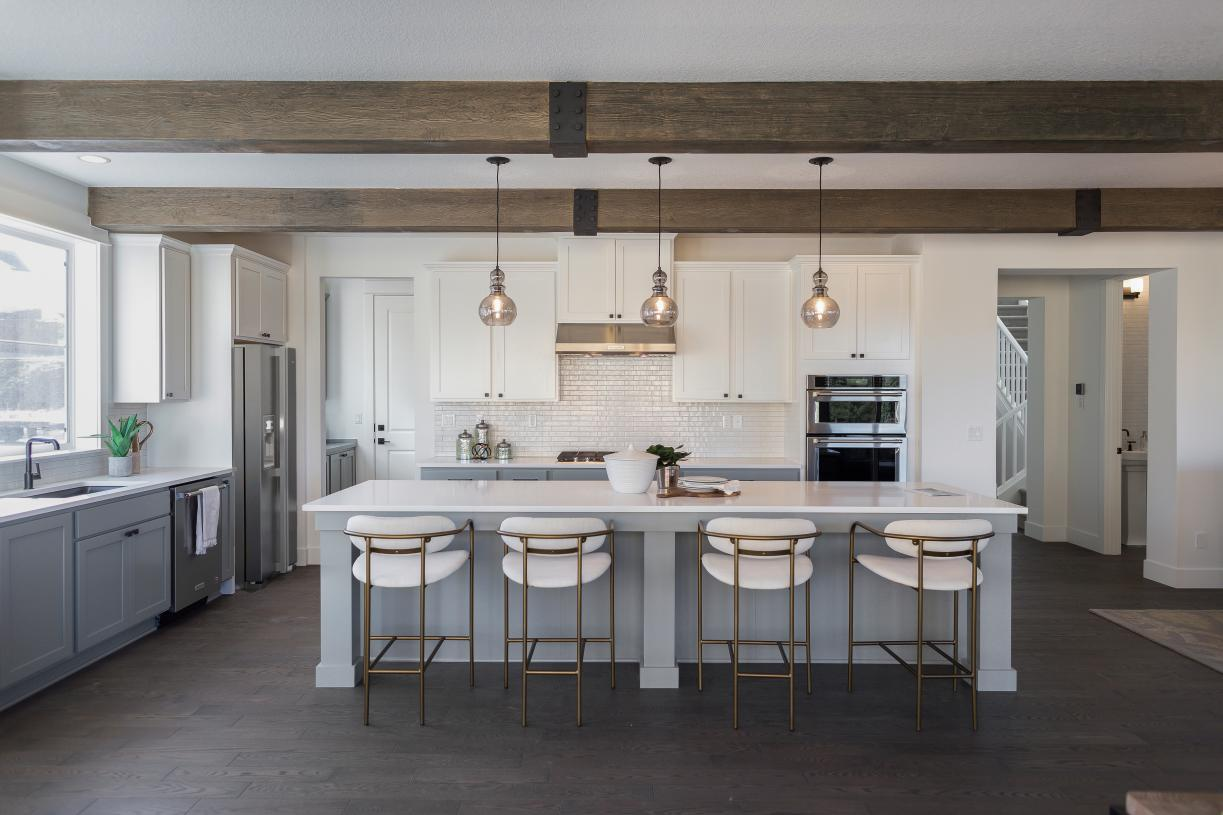 Stylish Sprague kitchen with beamed ceiling