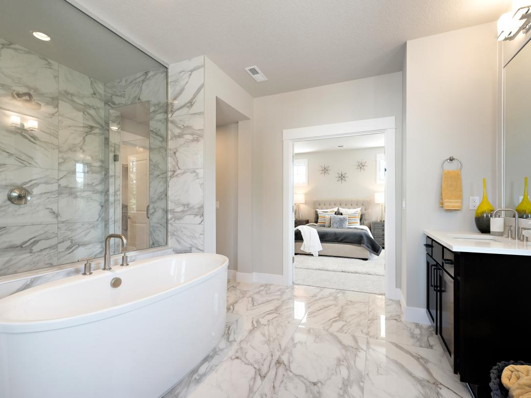 Luxe 5-piece primary bathroom with free-standing tub