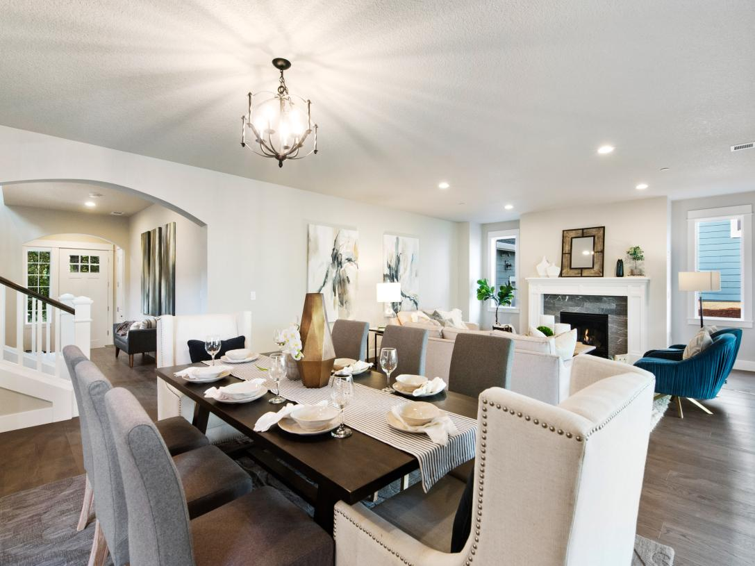 Open-concept dining and living space is perfect for entertaining