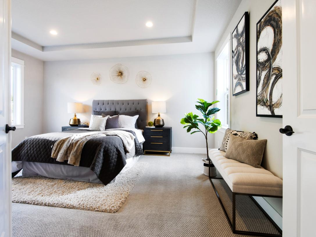 Spacious primary bedroom suite with recessed ceiling