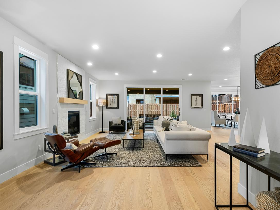 Inviting open great room with stacking panel doors