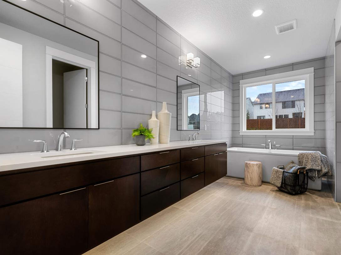 Retreat to luxury in the primary bath with over-sized free-standing tub