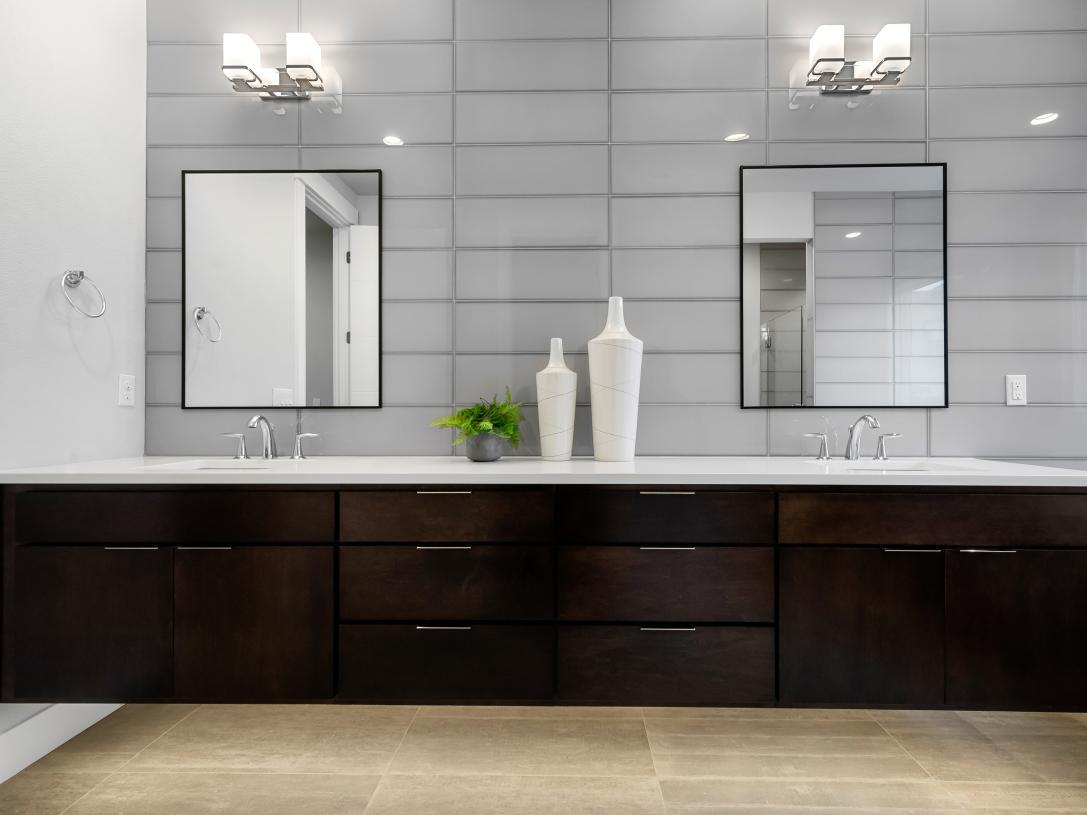 Beautiful floating vanity with underlighting