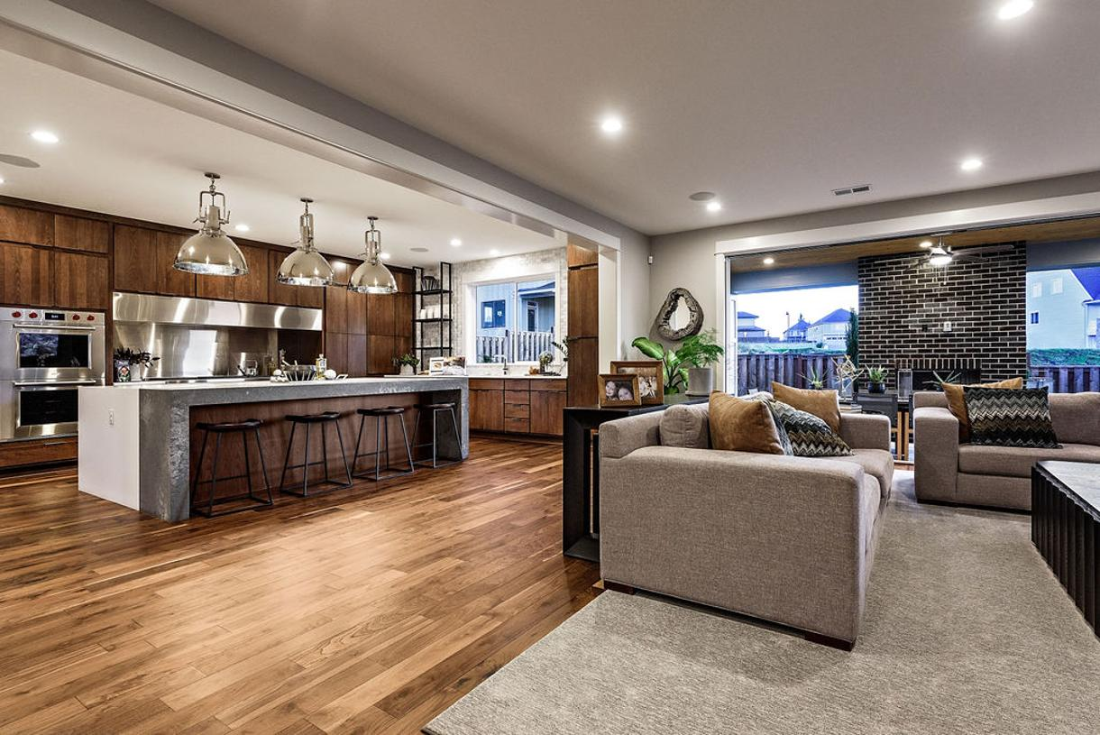 Great room and outdoor living are ideal family gatherings