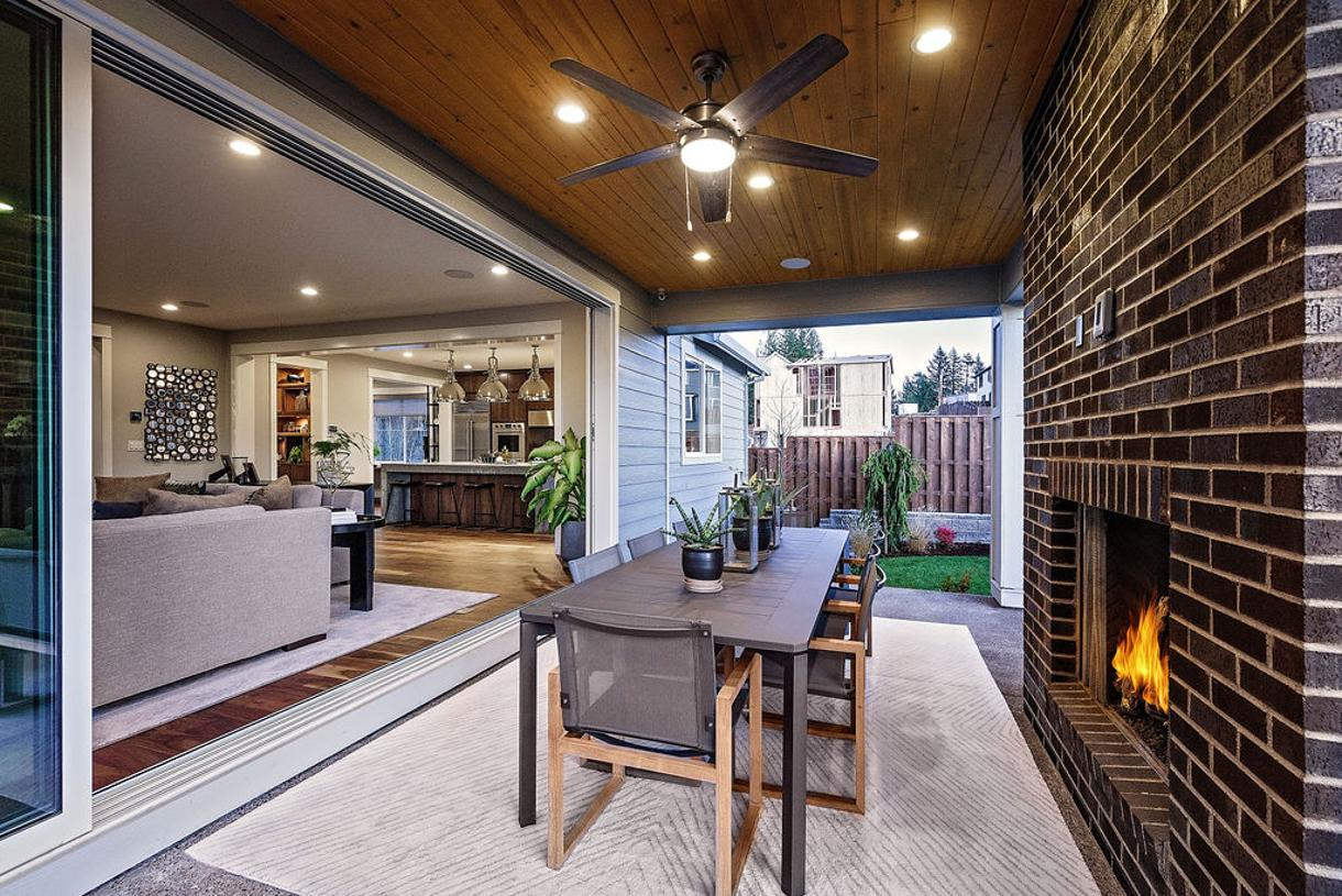 Seamless indoor-outdoor living with 16' stacked sliding glass doors