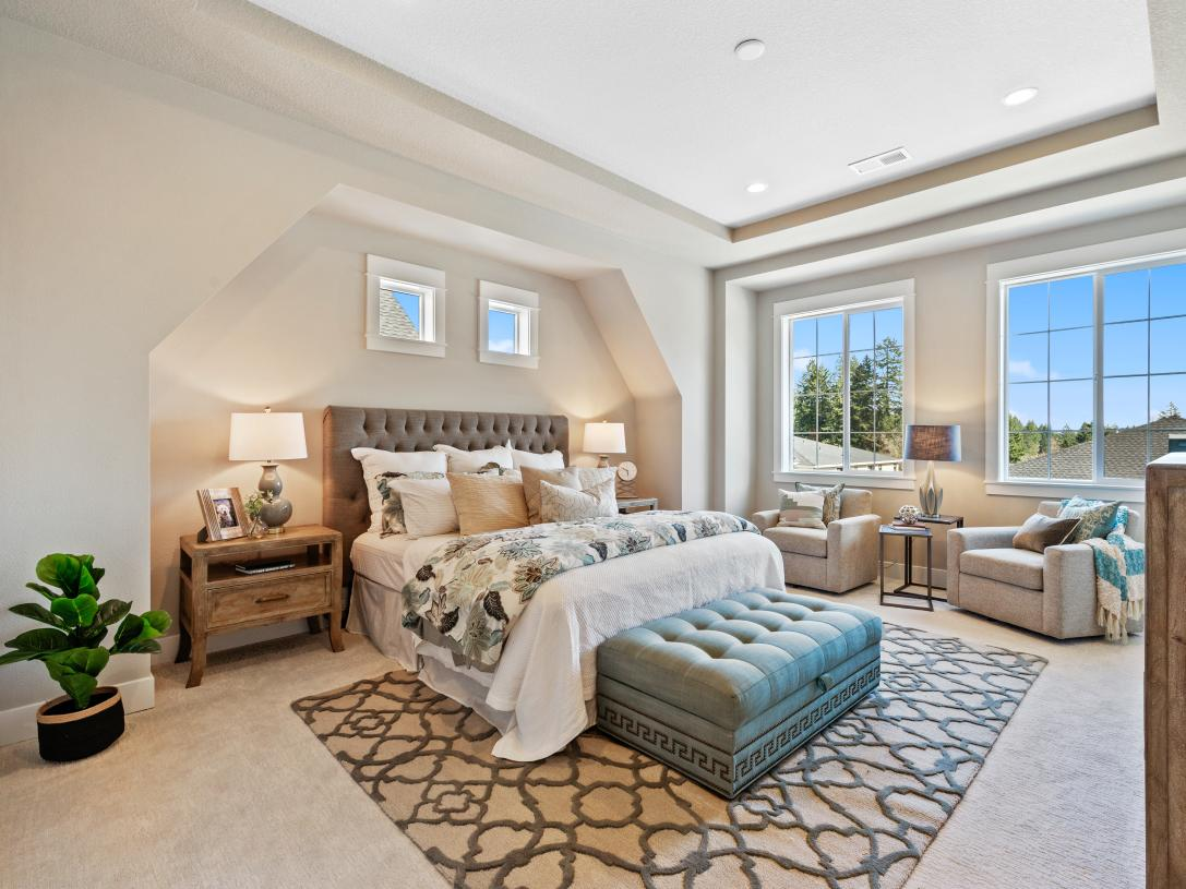 The Florence bedroom suite features a dramatic tray ceiling