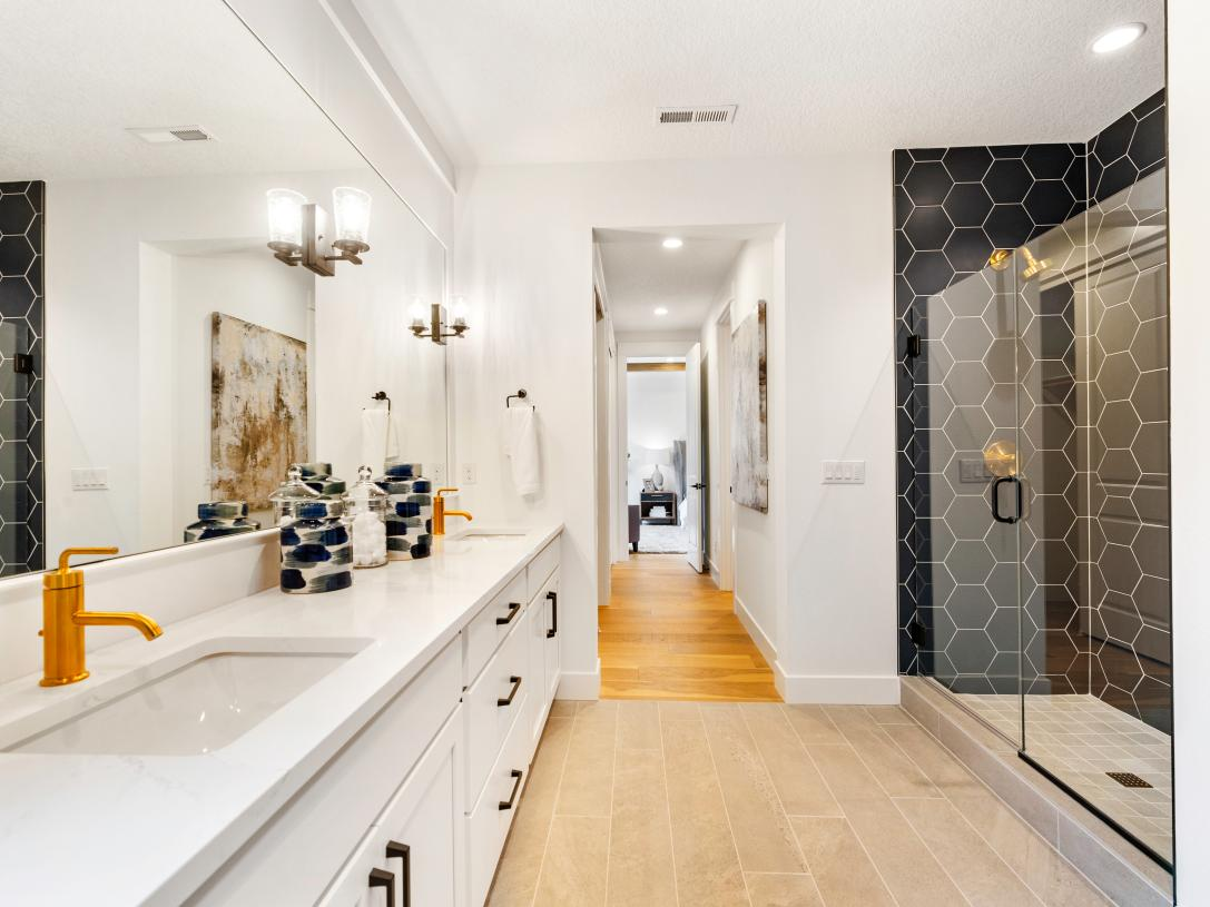Primary bath with huge walk-in shower