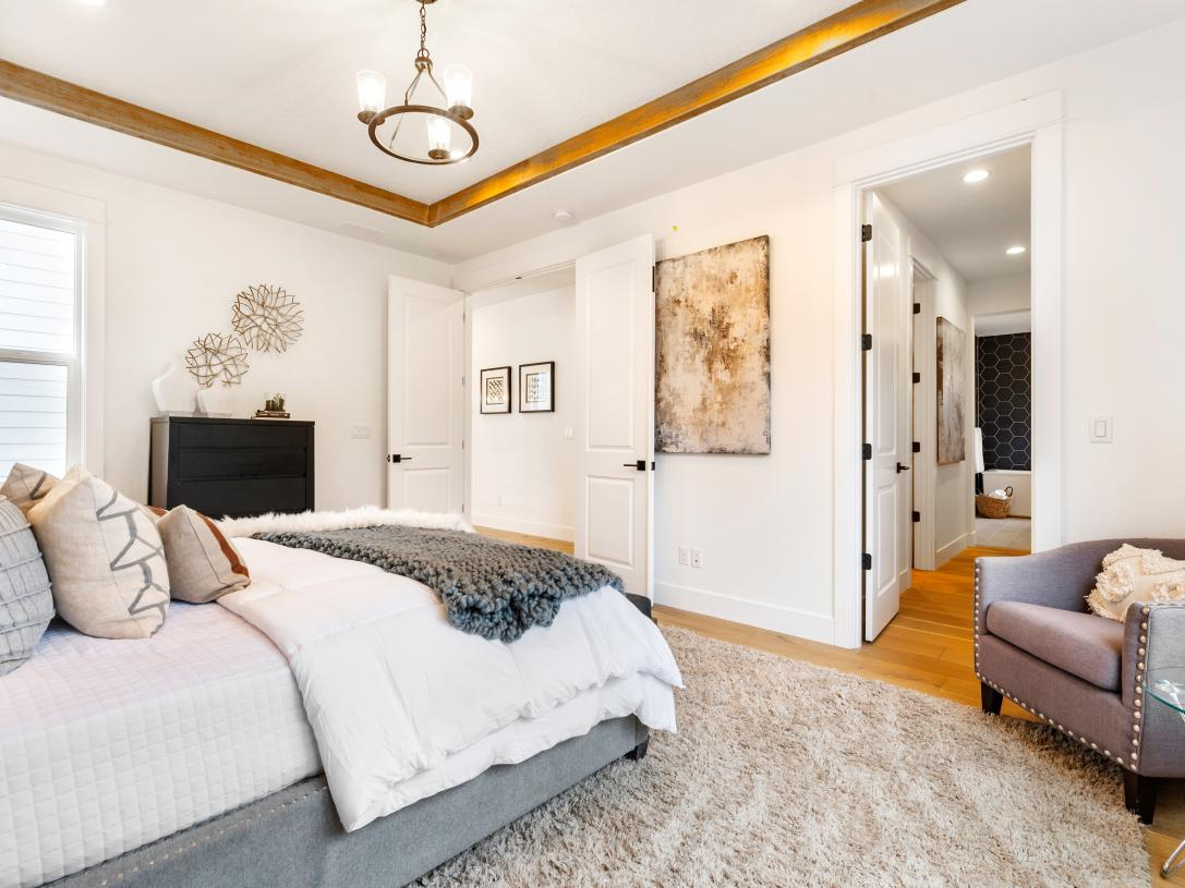 Primary bedroom suite with a dramatic tray ceiling