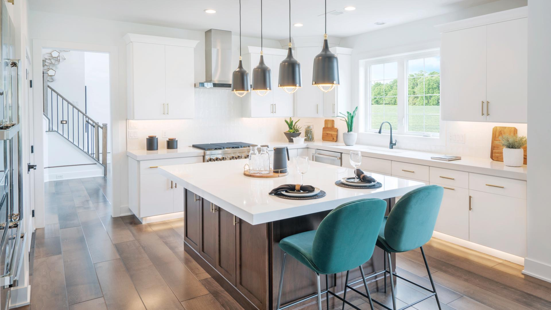 Spacious kitchens with large center island