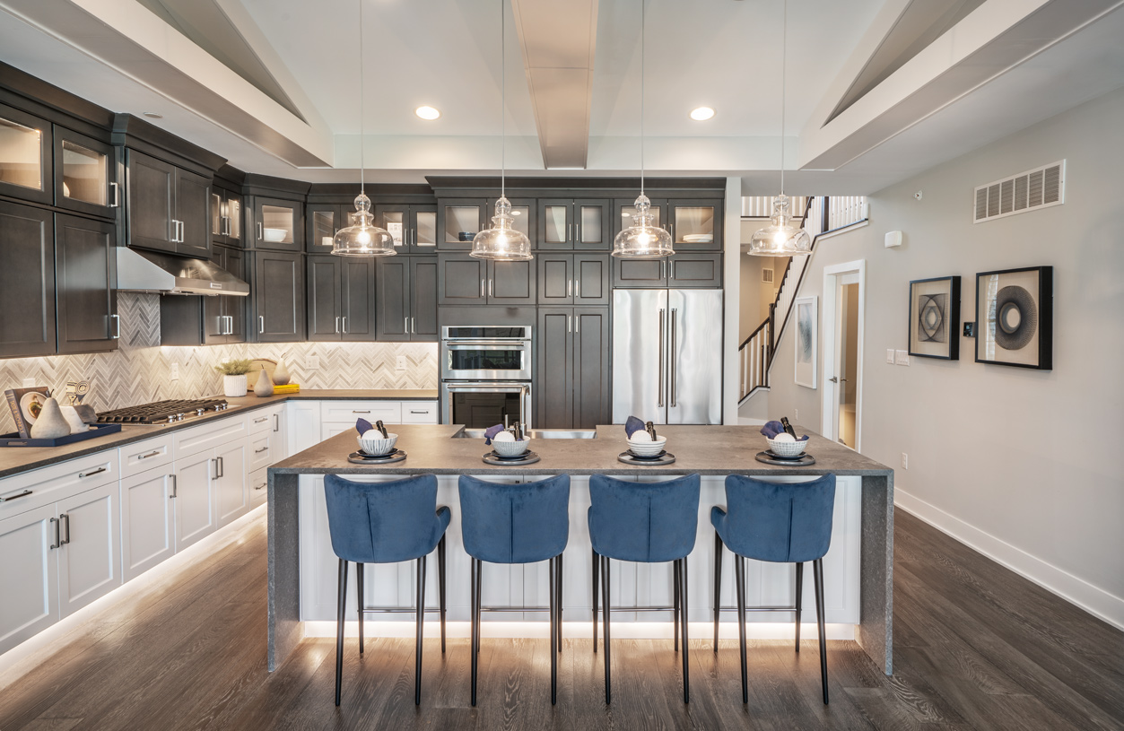 Gourmet kitchen with large center island and ample cabinet space