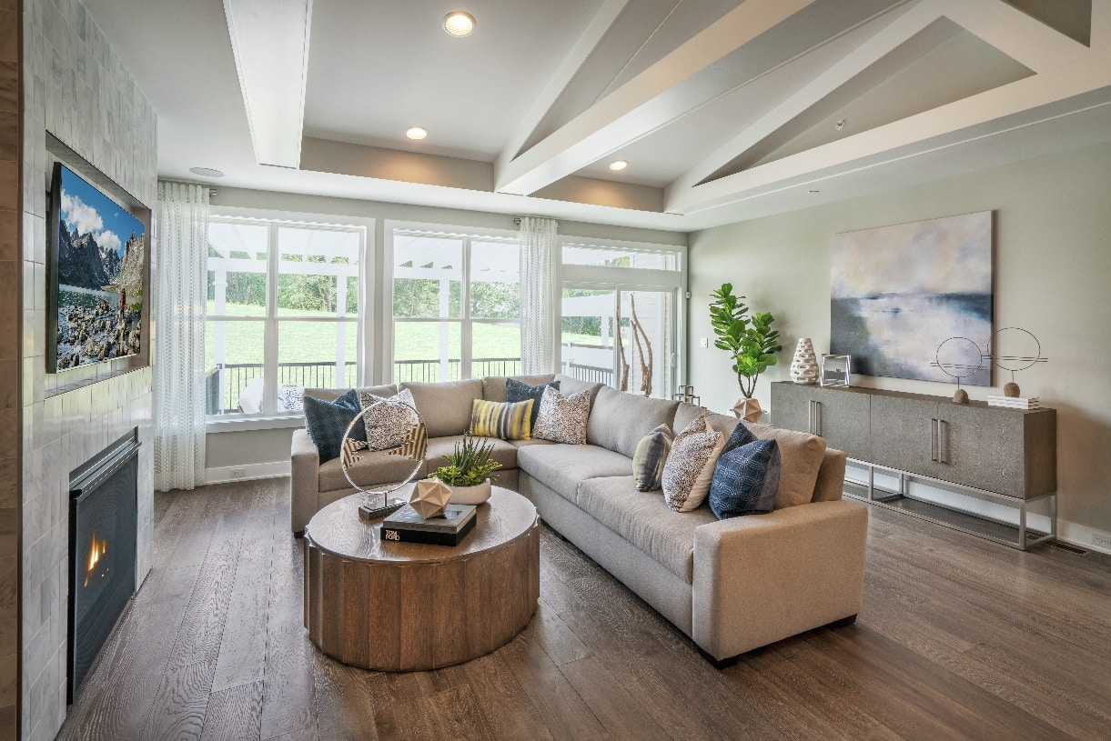 Natural light flows into the great room