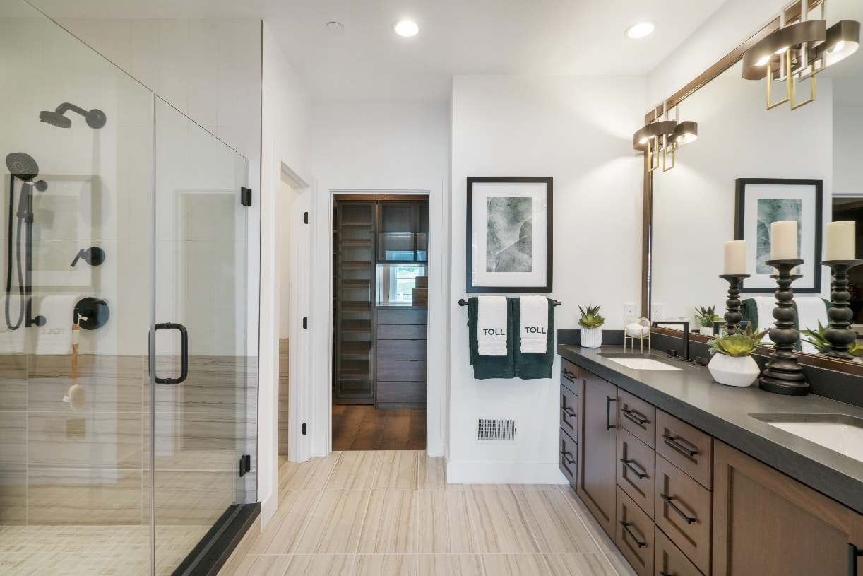 Well-appointed primary bathroom with walk-in closet