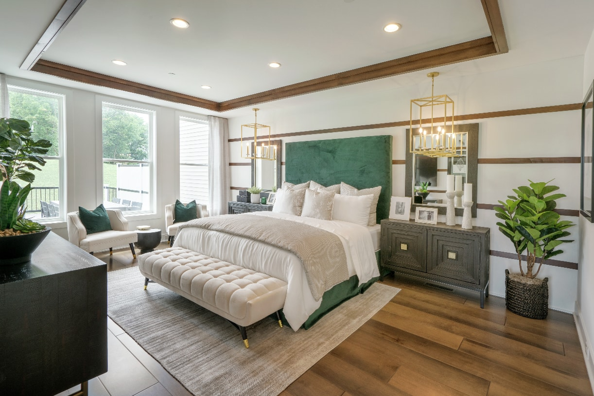 Tray ceiling in the first-floor primary bedroom suite