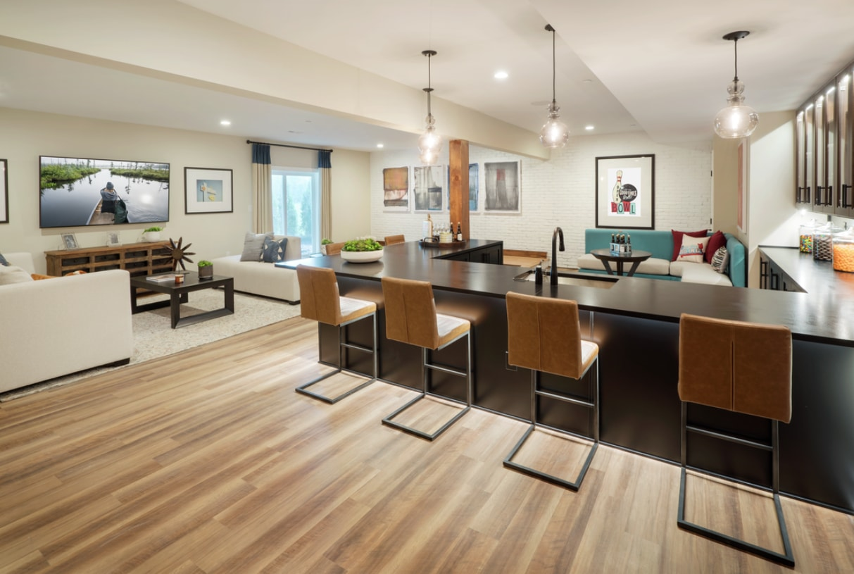 Finished basements provide great spaces for entertaining
