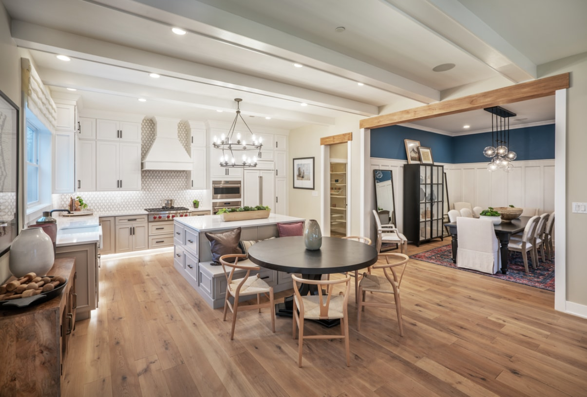 Well-designed kitchen overlooks the casual dining area