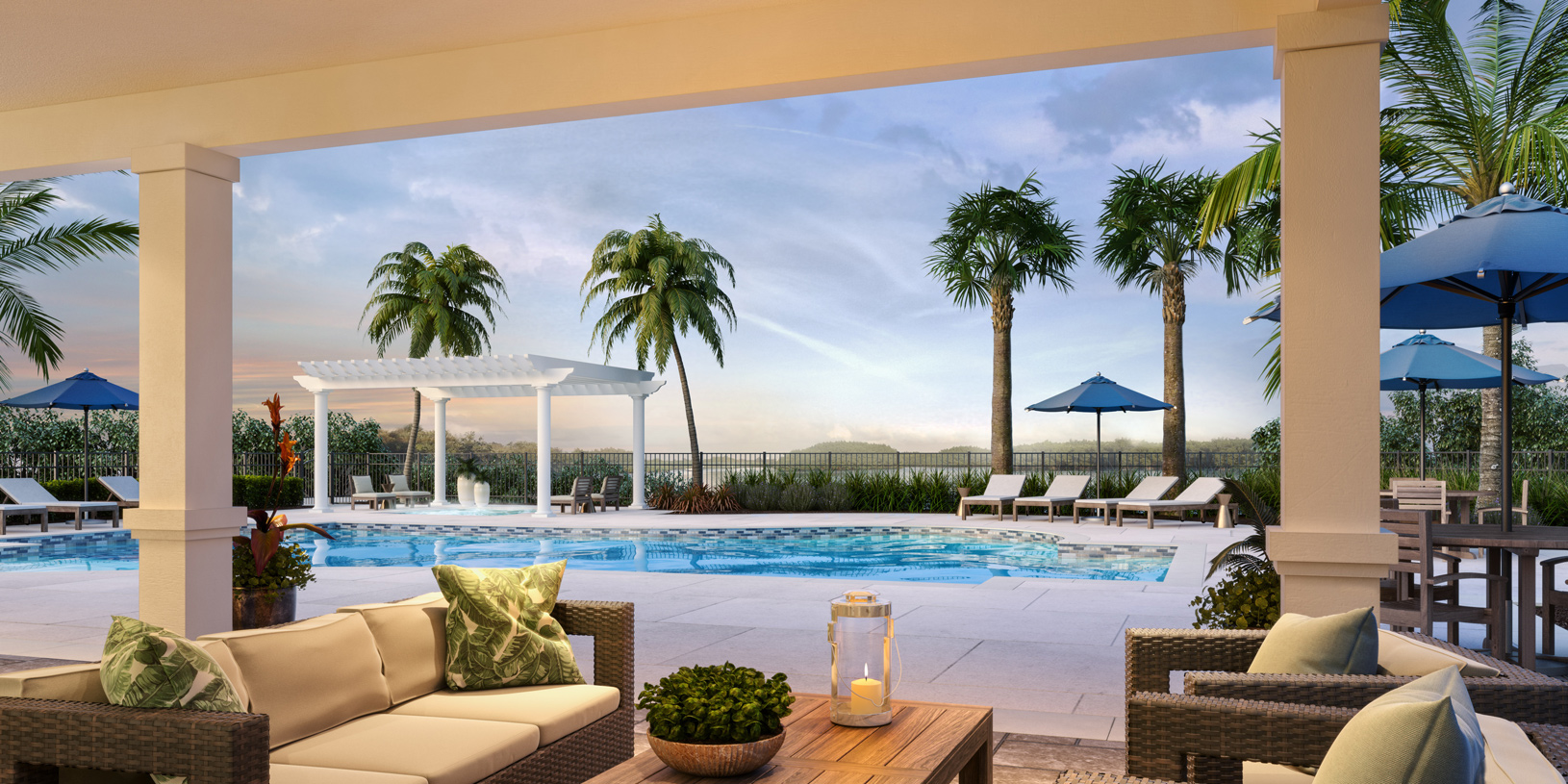 Relax under the covered lanai at the amenity center