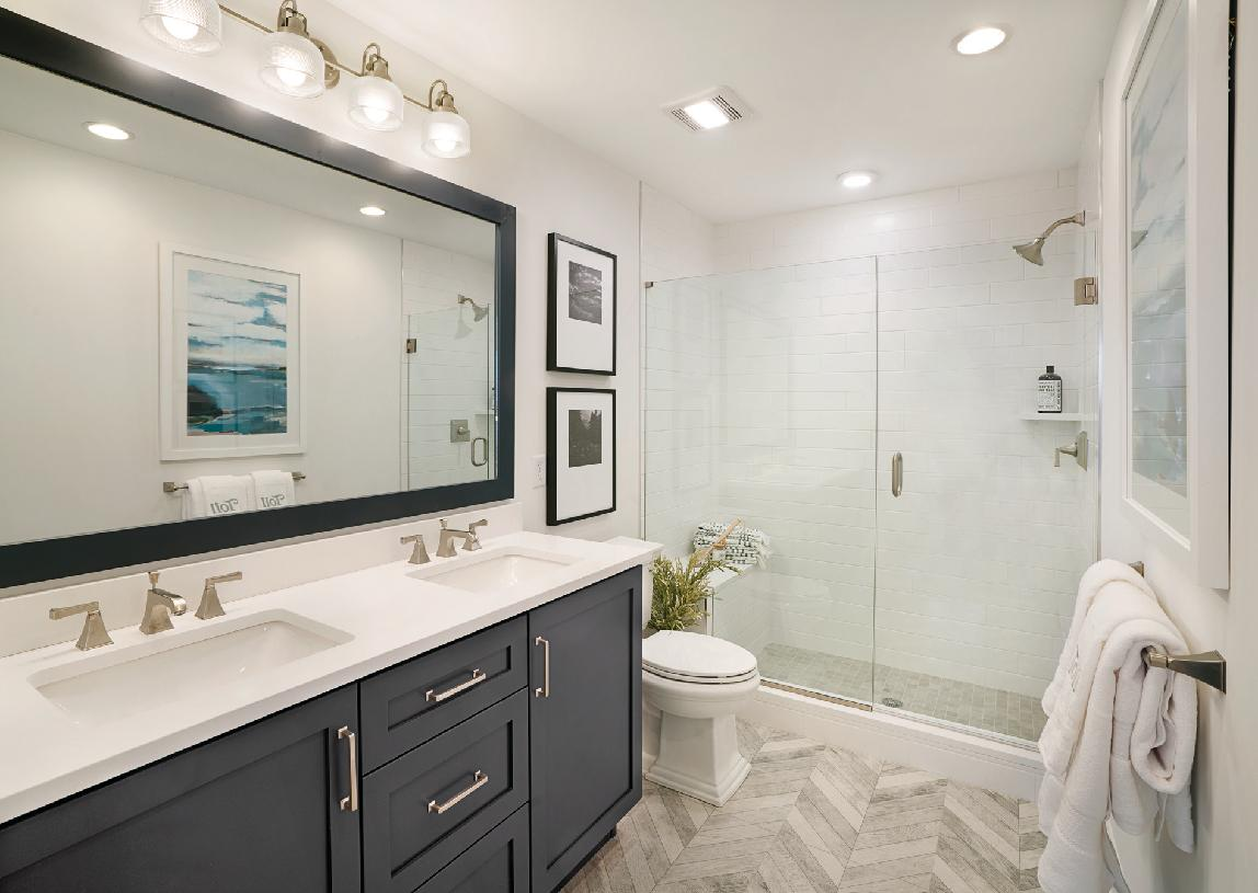 Primary bath with dual vanity and large shower