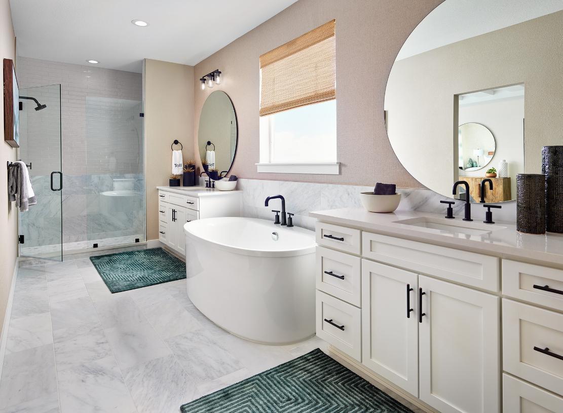 Lathrop primary bathroom with freestanding tub