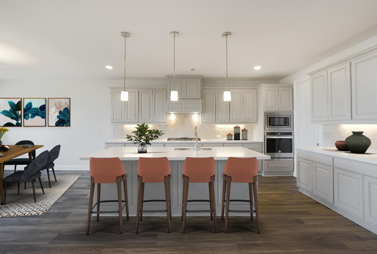 Well-equipped kitchen is complete with a large center island