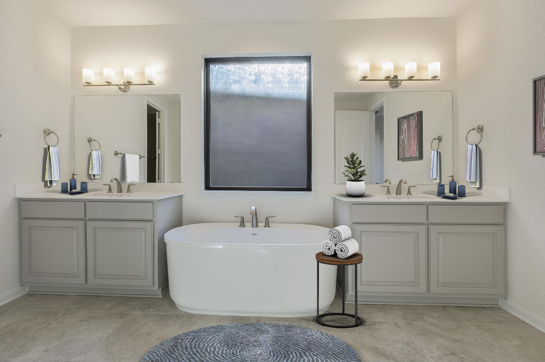 Deluxe primary bath with dual vanities