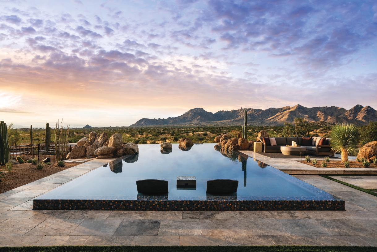 Resort-style backyard with sweeping mountain views