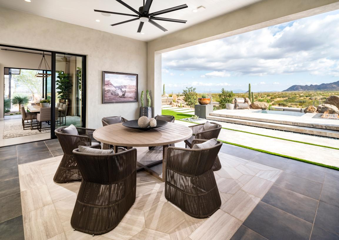 Oversized covered patio provides ideal outdoor living space