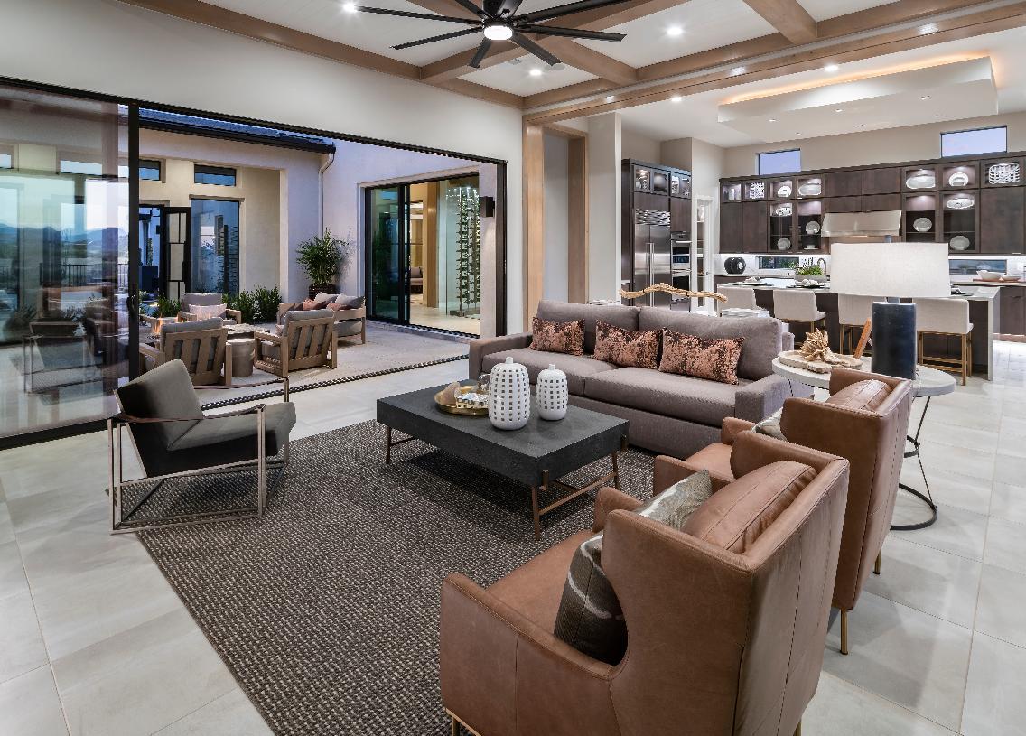 Open-concept floor plan with interior courtyard