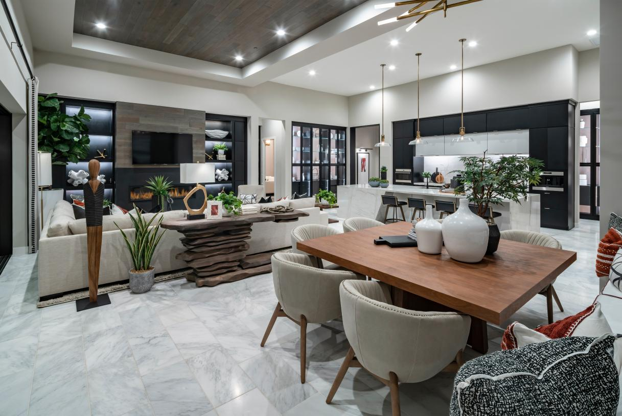 Open concept floor plan with tray ceilings