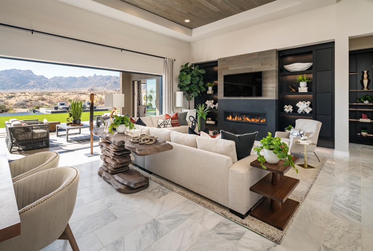 Impressive great room with multi-slide door that opens to outdoor living space