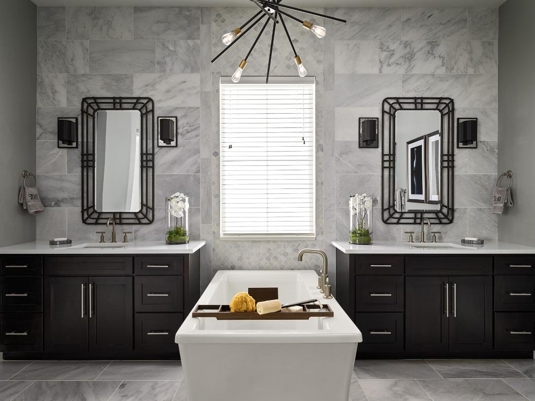 Crestone primary bathroom with dual vanity and freestanding tub