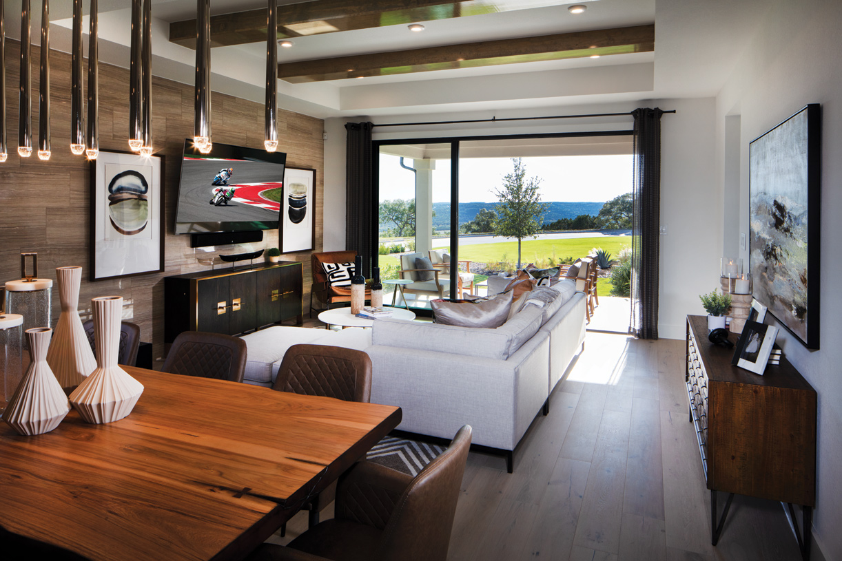 Alden living area with Hill Country views