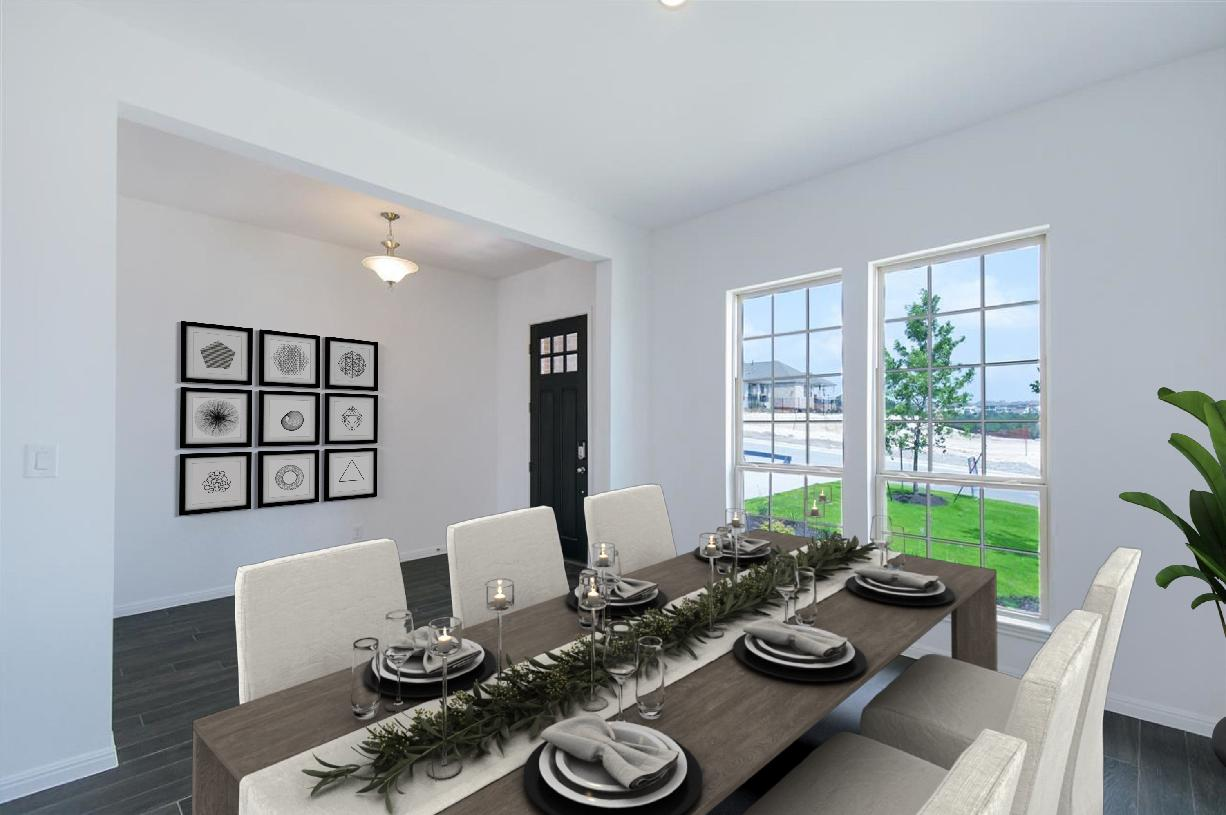 Formal dining room at front of home