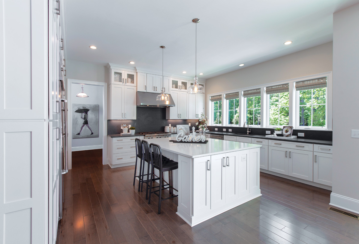 Spacious kitchens with oversized islands