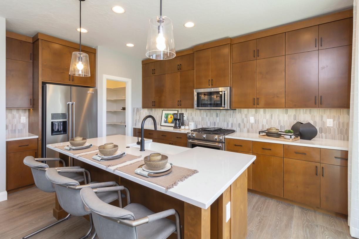 Spacious kitchen with striking tile accents