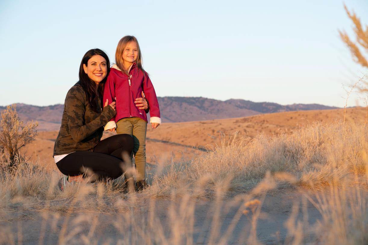 Mother & daughter hillside hike