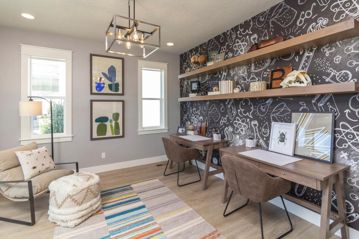 Functional flex room creates a comfortable space for homework and crafts
