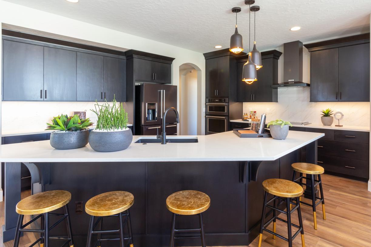 Well-equipped kitchen with distinctive tile accents